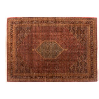"Vintage Tea Washed Indian Bijar Design Carpet - 9'11"" X 14' For Sale"