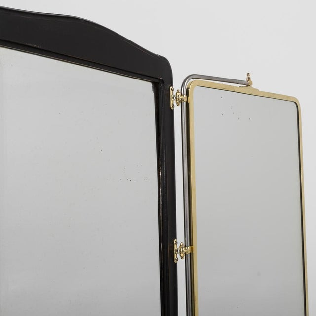 Late 19th Century French Brass and Ebonised Wood Mirrored Screen Circa 1890 For Sale - Image 5 of 9