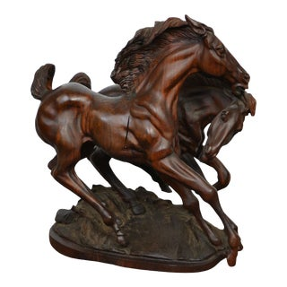 Mid 20th Century Wood Carving Horses Sculpture For Sale