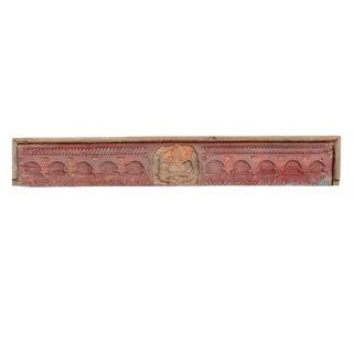 Folk Red Painted Ganesha Carved Panel