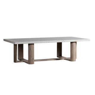 Terrazzo & Acacia Coffee Table For Sale