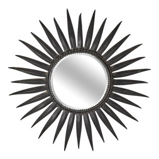 French Mid-Century Black Wrought Iron Tapered Ray Sunburst Wall Mirror For Sale