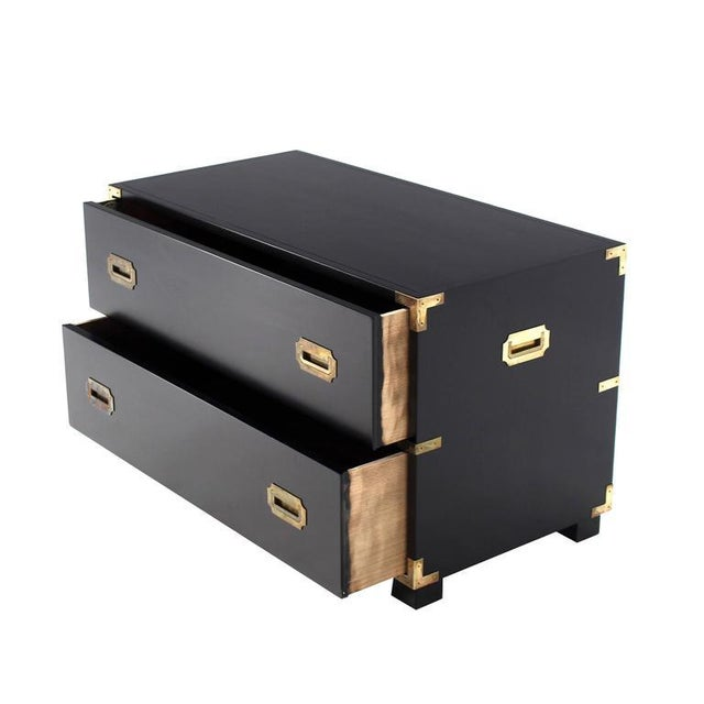 Lacquer Two Drawer Baker Low Campaign Chest of Drawers Brass Pulls Hardware For Sale - Image 7 of 9
