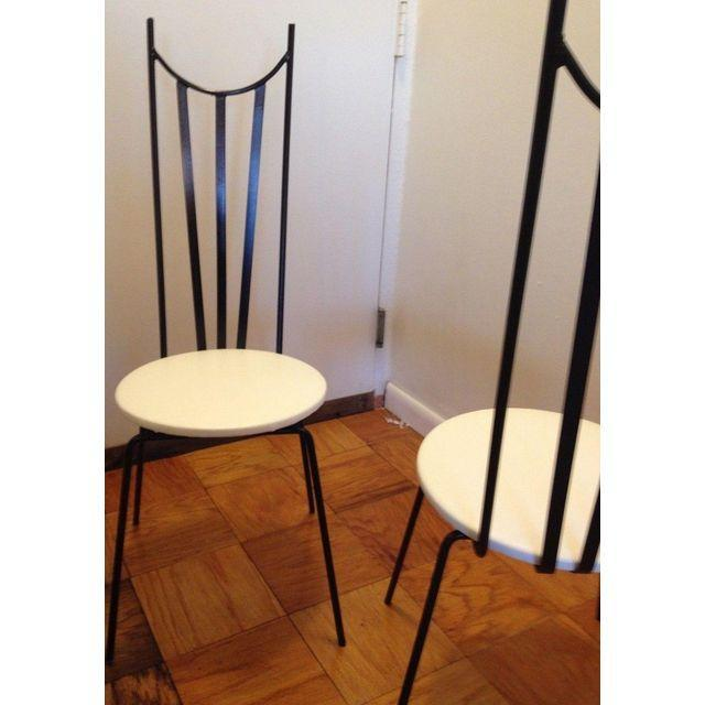 Mid-Century Iron Parlor Chairs - A Pair For Sale - Image 4 of 4