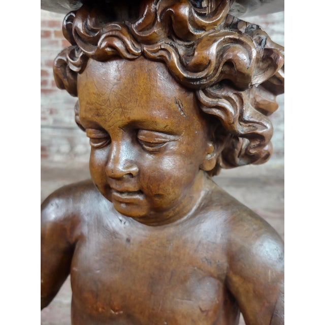 18th Century French Hand-Carved Walnut Cherub With a Plant Stand For Sale - Image 4 of 10