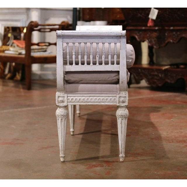 Wood 19th Century French Directoire Carved Painted Upholstered Banquette With Back For Sale - Image 7 of 9