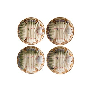 Antique French Majolica Asparagus Plates - Set of 4