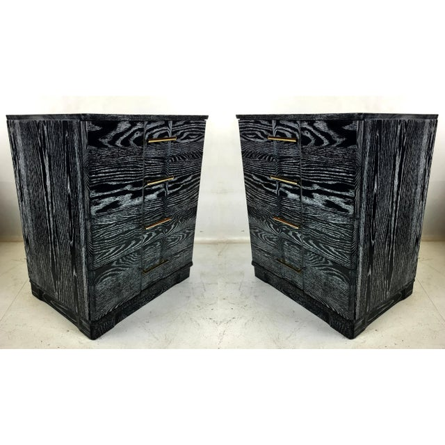 Brass Pair of Ebonized Cerused Oak Bachelors Chests With Brass Hardware For Sale - Image 7 of 7