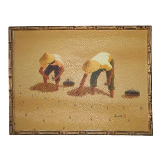 Vintage Mid-Century Asian Rice Farmers Framed Painting For Sale