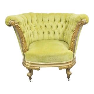 19th Century Louis XV Gold Gilt Club Chair For Sale