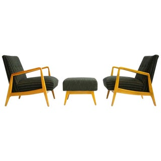 Pair of Jens Risom Lounges with Ottoman For Sale