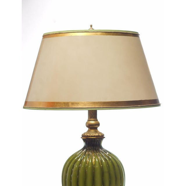 Mid-Century Modern Vintage Italian Green and Gold Murano Lamps - a Pair For Sale - Image 3 of 4