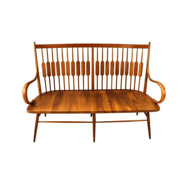 Mid-Century Modern Mid Century Kipp Stewart for Drexel Declaration Walnut Spindle Back Bench For Sale - Image 3 of 10