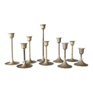 Set of 9 Graduated Brass Candlesticks Candle Holders Mid Century For Sale