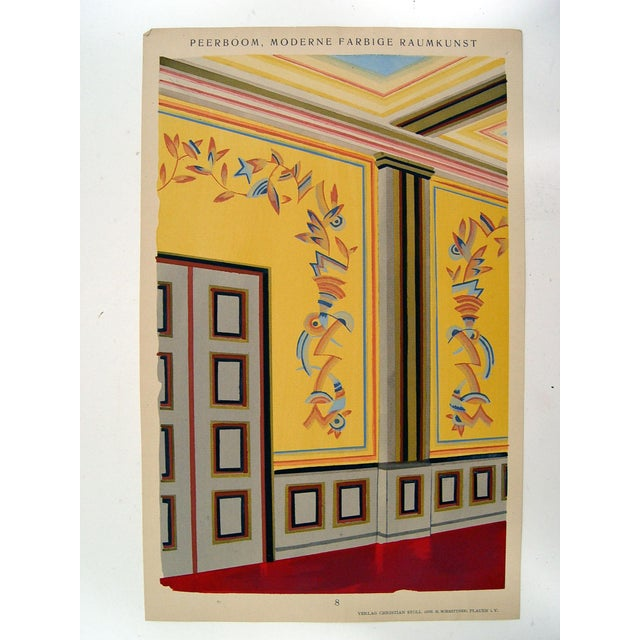 Antique 1929 Art Deco Interior Pochoir Print - Image 2 of 3