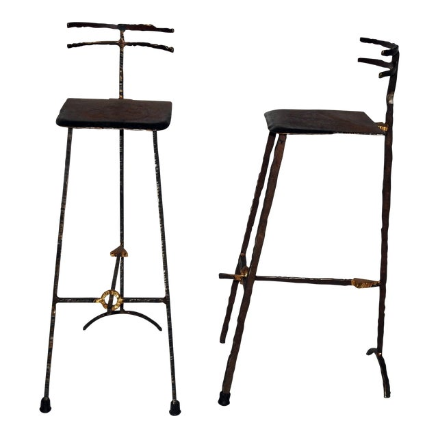 Mid-Century Modern Giacometti Style Bar Stools - A Pair - Image 1 of 8