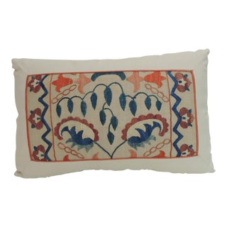 19th Century Embroidered Suzani Lumbar Decorative Pillow For Sale
