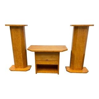 Custom Design Maple Pedestals - Set of Three For Sale
