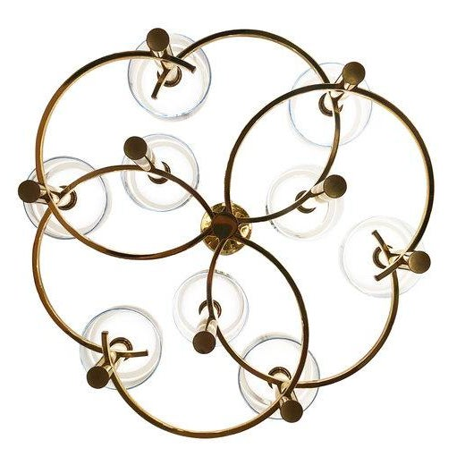 Hollywood Regency Gaetano Sciolari Brass Ceiling Light For Sale - Image 3 of 9