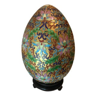 Vintage Chinoiserie Cloisonne Gold Egg & Stand