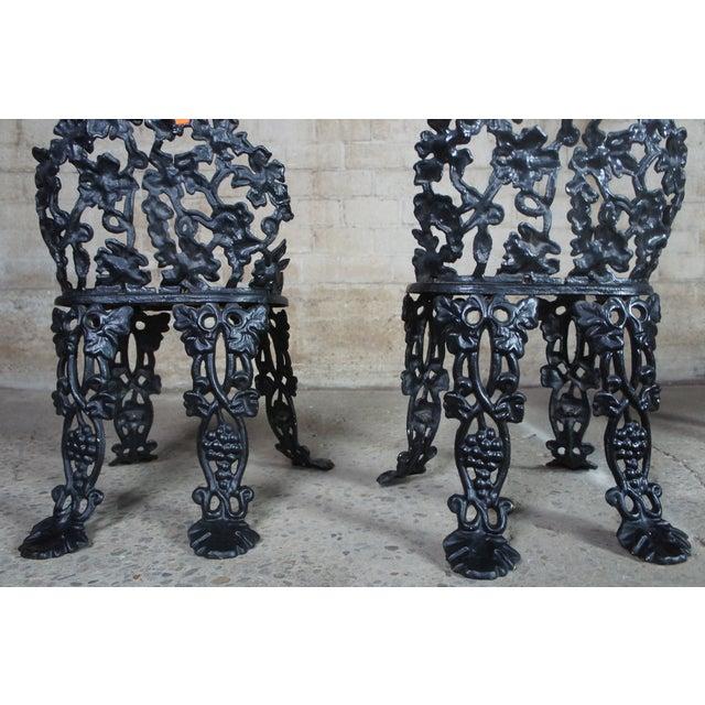 Antique Victorian Cast Iron Grape Vine Garden Furniture-Set Of 3 For Sale - Image 10 of 11