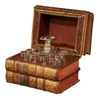 19th Century French Leatherbound Book Liquor Box With Shot Glasses and Carafe For Sale