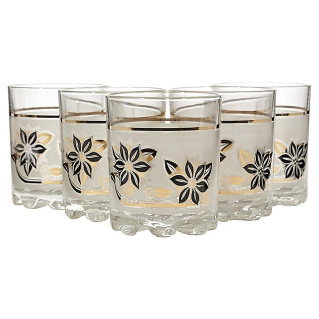 Frosted Black & Gilt Glass Tumblers, Set of 5 For Sale - Image 4 of 4