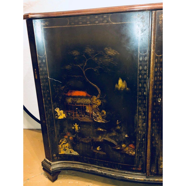 Fine Custom Quality Ebony Chinoiserie Commode or Cabinet Server For Sale - Image 9 of 13