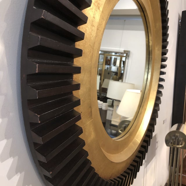 Boho Chic 1970s Circular Black and Gold Wood Wall Mirror For Sale - Image 3 of 5