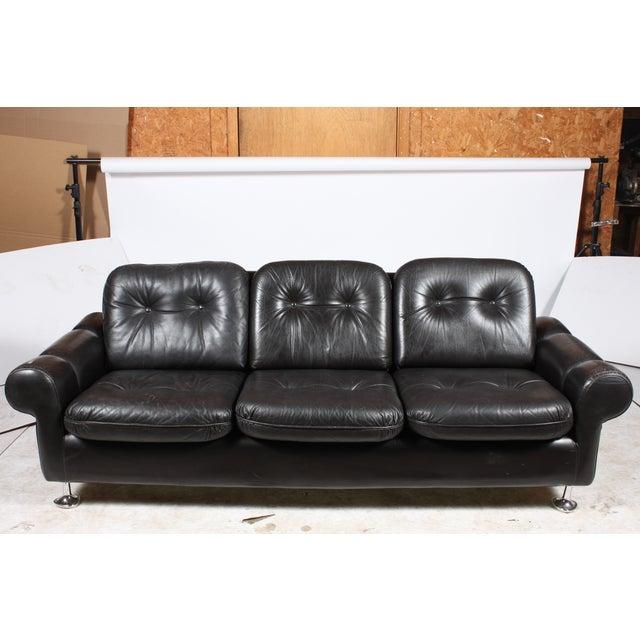 Danish Retro Black Sofa - Image 2 of 6