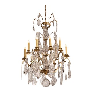 Louis XV Style Crystal Gilded Brass Ten Light Chandelier circa 1875 For Sale