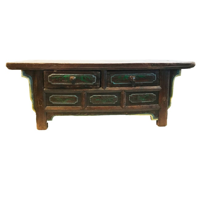 Green Tibetan Brown Drawers Low Altar Table Chest For Sale - Image 8 of 8