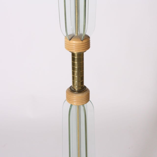 Italian Glass and Brass Floor Lamp, C. 1950 For Sale - Image 4 of 7