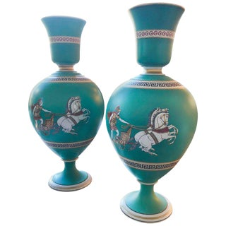 Pair of Signed F & R Pratt Earthenware Grecian/Roman Themed Greek Key Vases