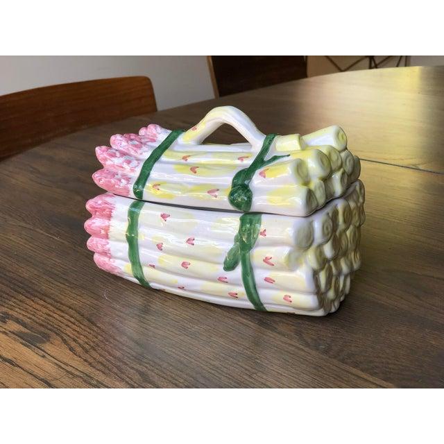Green Vintage Ceramic Asparagus Tureen Trompe L'oiel For Sale - Image 8 of 13