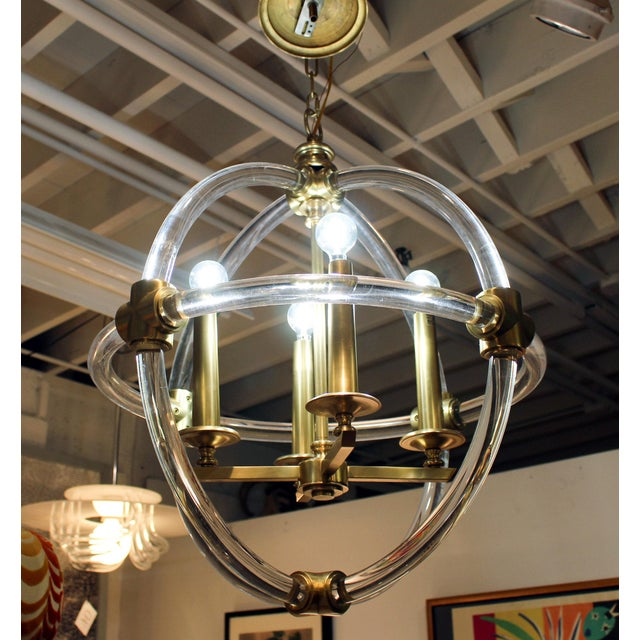 Gold Globe Pedant Light Fixture For Sale - Image 8 of 8