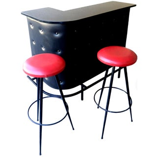 Vintage French Jacques Adnet Bar and 2 Stools For Sale