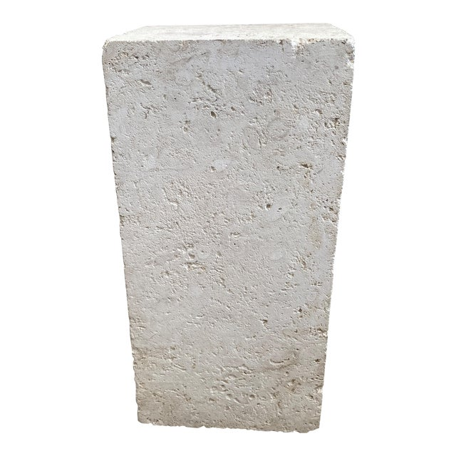 Vintage Low Pedestal in Cream Color Natural Travertine Stone For Sale
