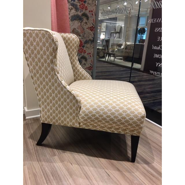 Washington DC slipper chair Upholstered in Sclalmandre Trellis Weave color Sand with contrasting cord and Bright gold...