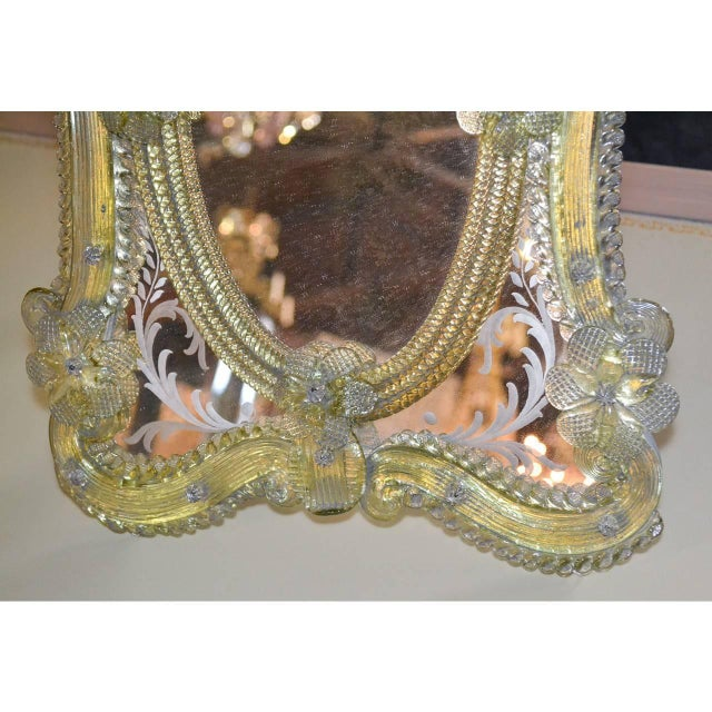 1920s 1920s Pair of Gorgeous Venetian Vanity Mirrors on Stands For Sale - Image 5 of 10