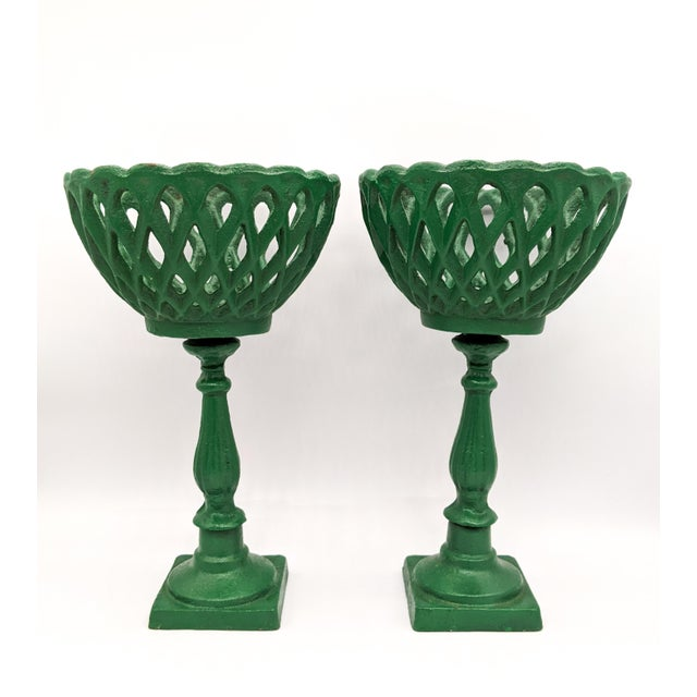 Large 20th Century Green Cast Iron Compotes - a Pair For Sale - Image 4 of 10