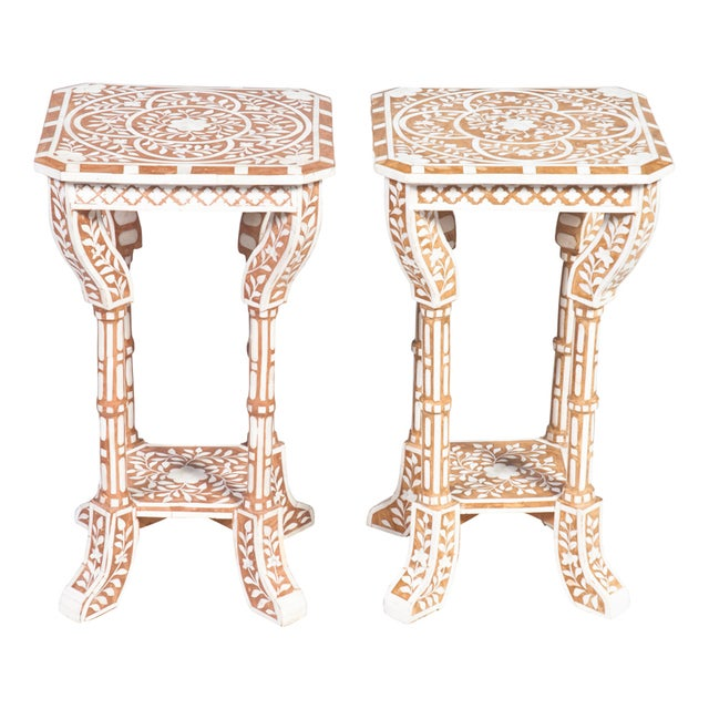 Pair of Bone Inlay Side Tables For Sale