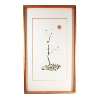 Mid 20th Century Kenji Ushiku Japanese Signed Limited Edition Aquatint With Bluebirds For Sale