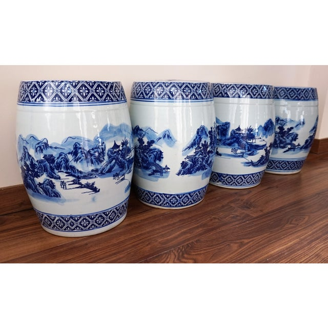 White Blue and White Floral Motif Chinese Porcelain Garden Seats & Table - Set of 5 For Sale - Image 8 of 14