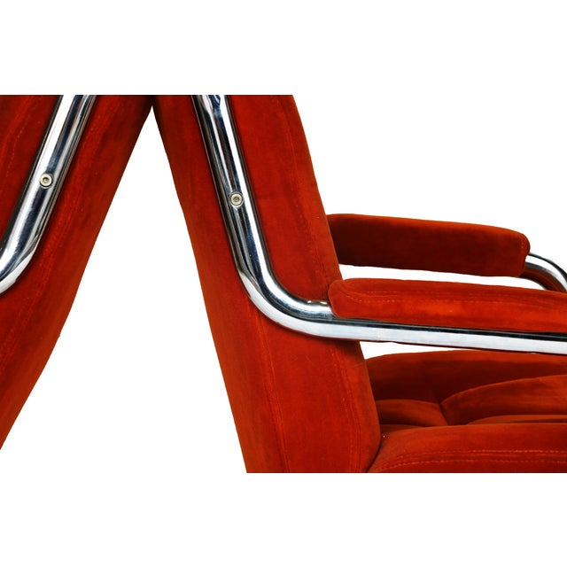 Pair Chrome Milo Baughman-Style Chairs - Image 5 of 10