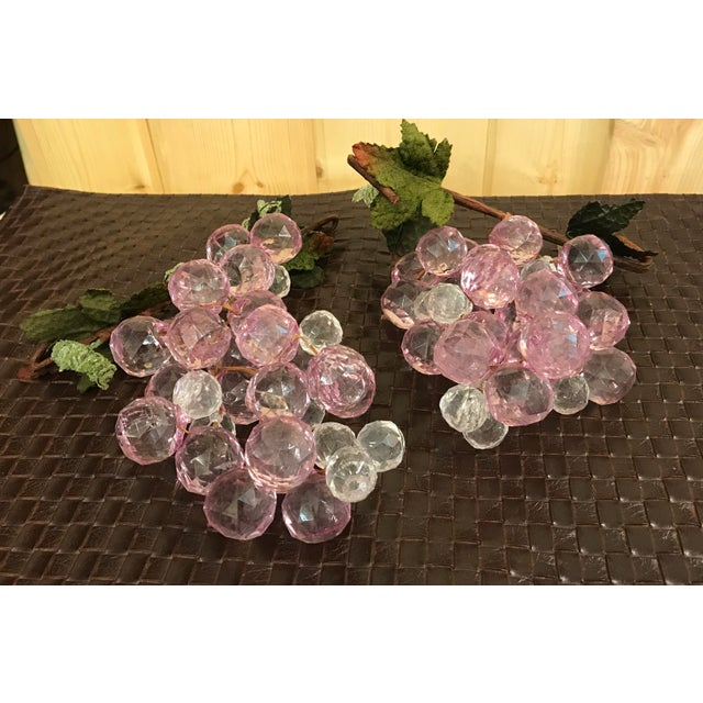 Mid-Century Modern Pink & White Faceted Lucite Grapes - A Pair For Sale - Image 3 of 8