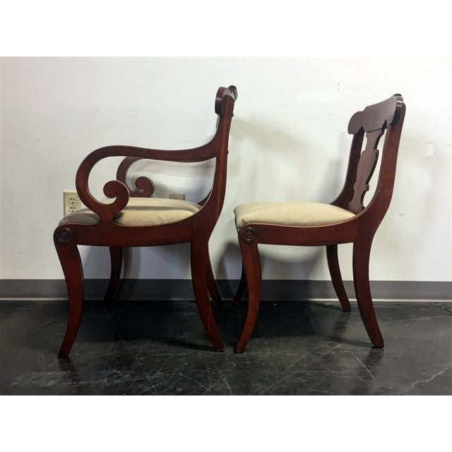 Textile Vintage Willett Solid Cherry Empire Style Dining Chairs - Set of 6 For Sale - Image 7 of 11