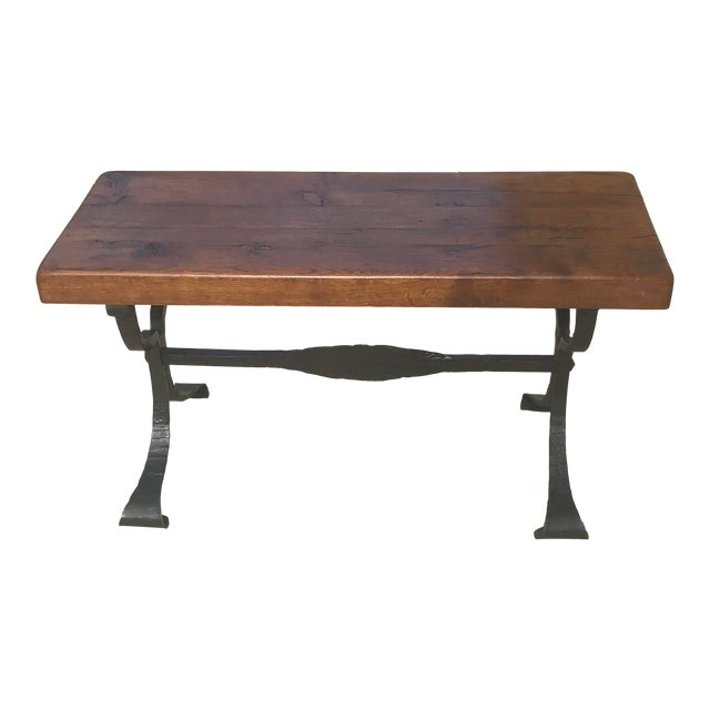 Late 20th Century Rustic French Iron Base Coffee Table For Sale