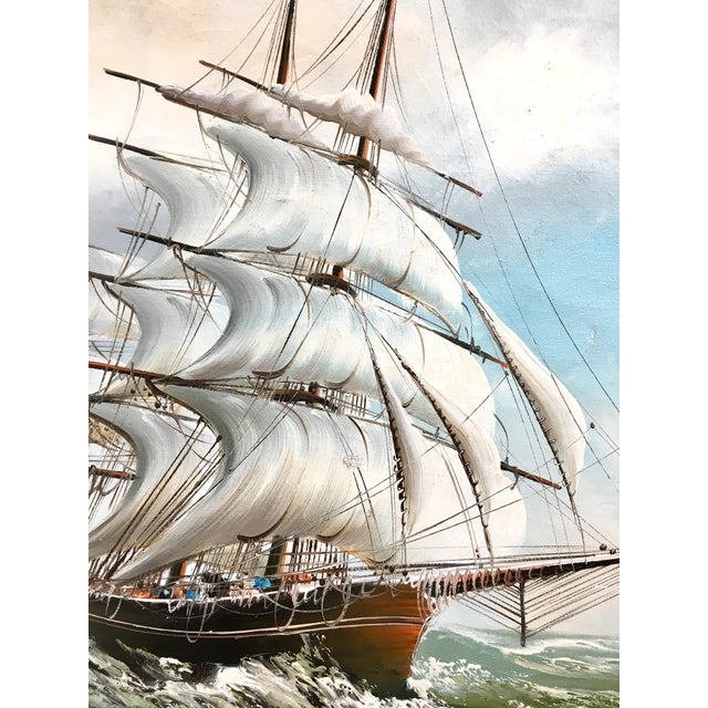 Americana 1960s Vintage Rupert Hydan Colonial Ship on the Sea Oil Painting For Sale - Image 3 of 10