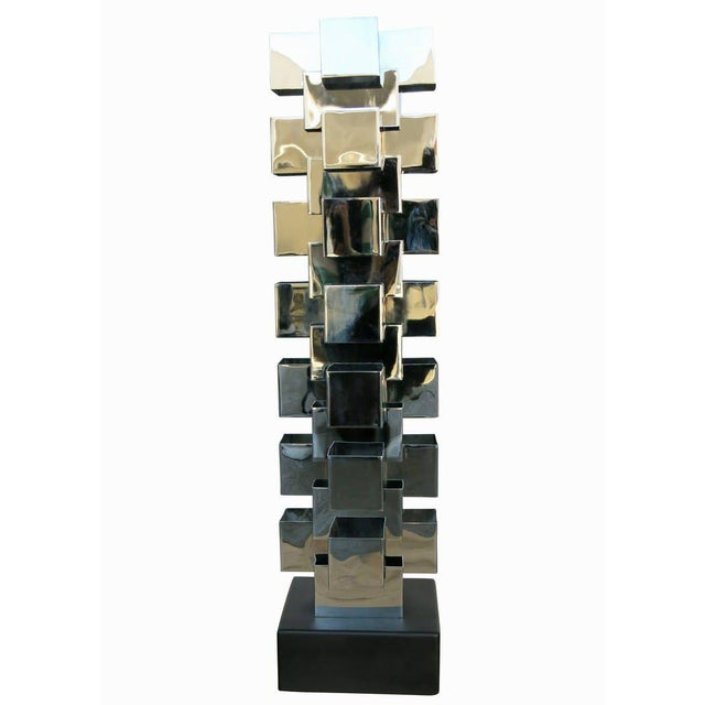 Chrome Interlaced Column Sculpture Table Lamp by Curtis Jere - Image 2 of 8